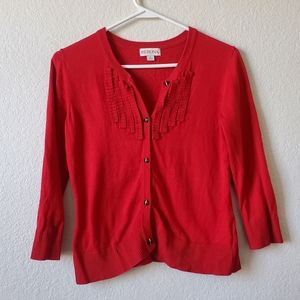 Merona Red Button Up Cardigan